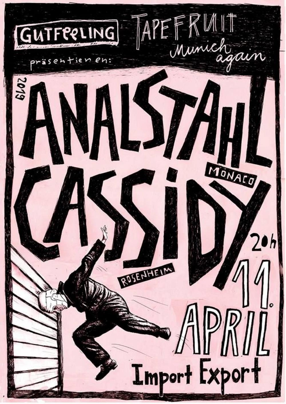 Tapefruit Konzert: Analstahl + Cassidy | 11.04.2019 @ Import Export