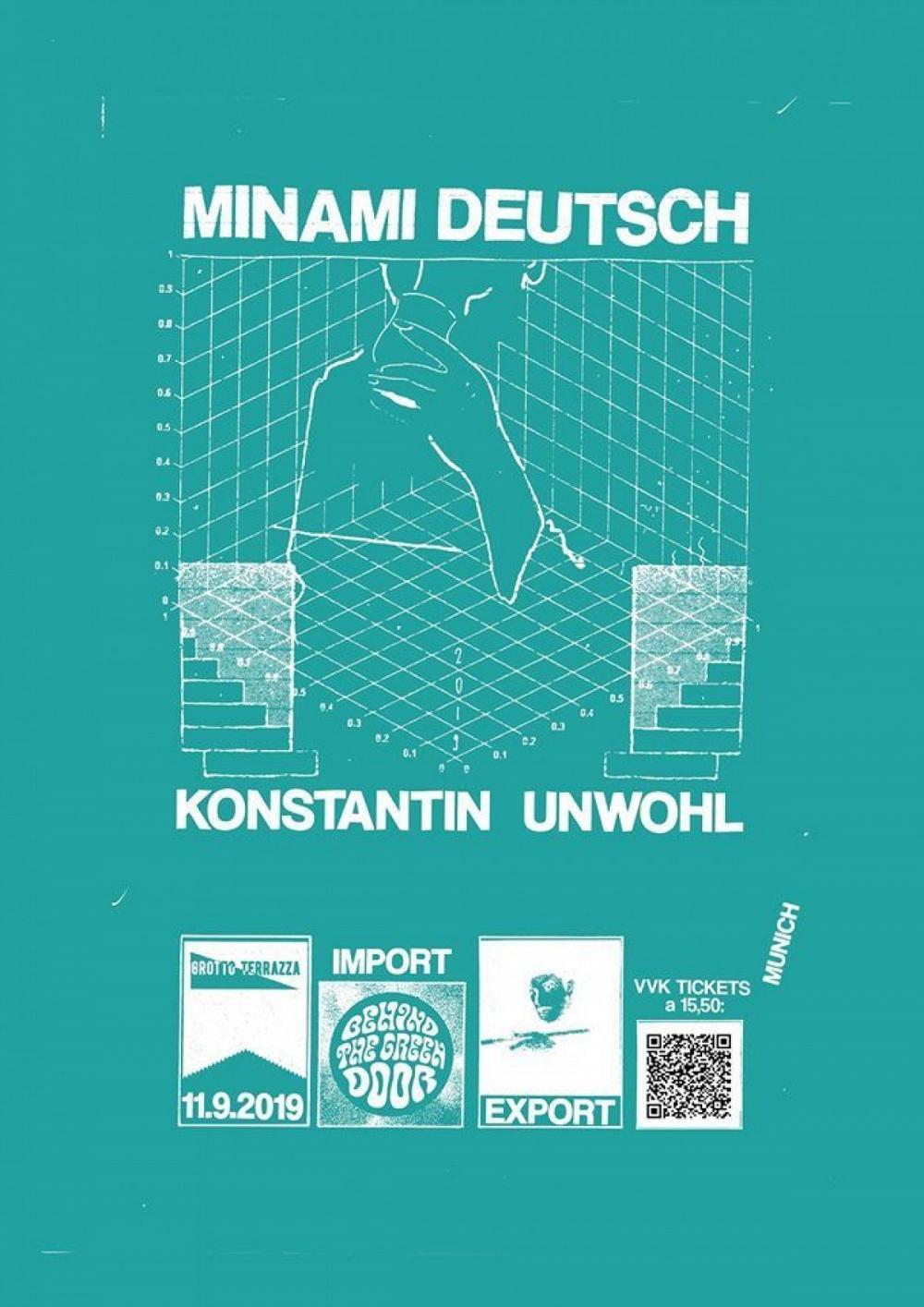 Tapefruit Konzert: Minami Deutsch + Konstantin Unwohl | 11.09.2019 @ Import Export