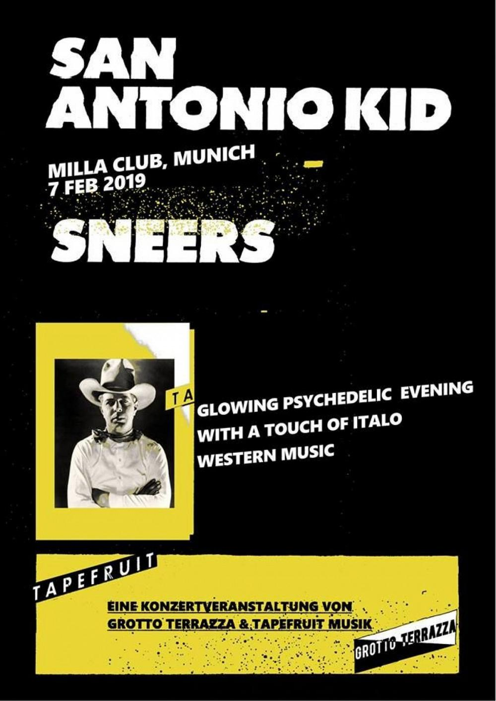 Tapefruit Konzert: San Antonio Kid + Sneers | 07.02.2019 @ Milla Club